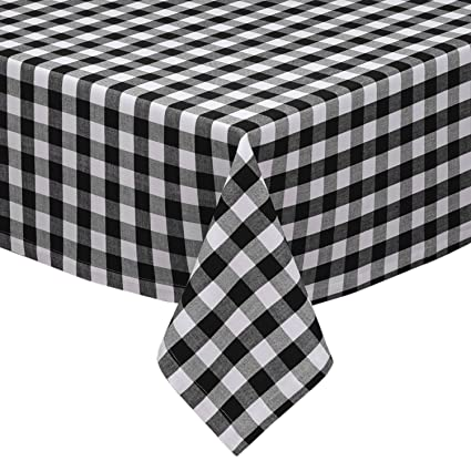 Black And White Checkered Kitchen/Dining Room Tablecloth: Gingham/Plaid  Design, Cotton