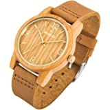 Sentai, orologio da polso al quarzo in legno naturale leggero con cinturino in vera pelle, realizzato a mano, unisex, personalizzabile