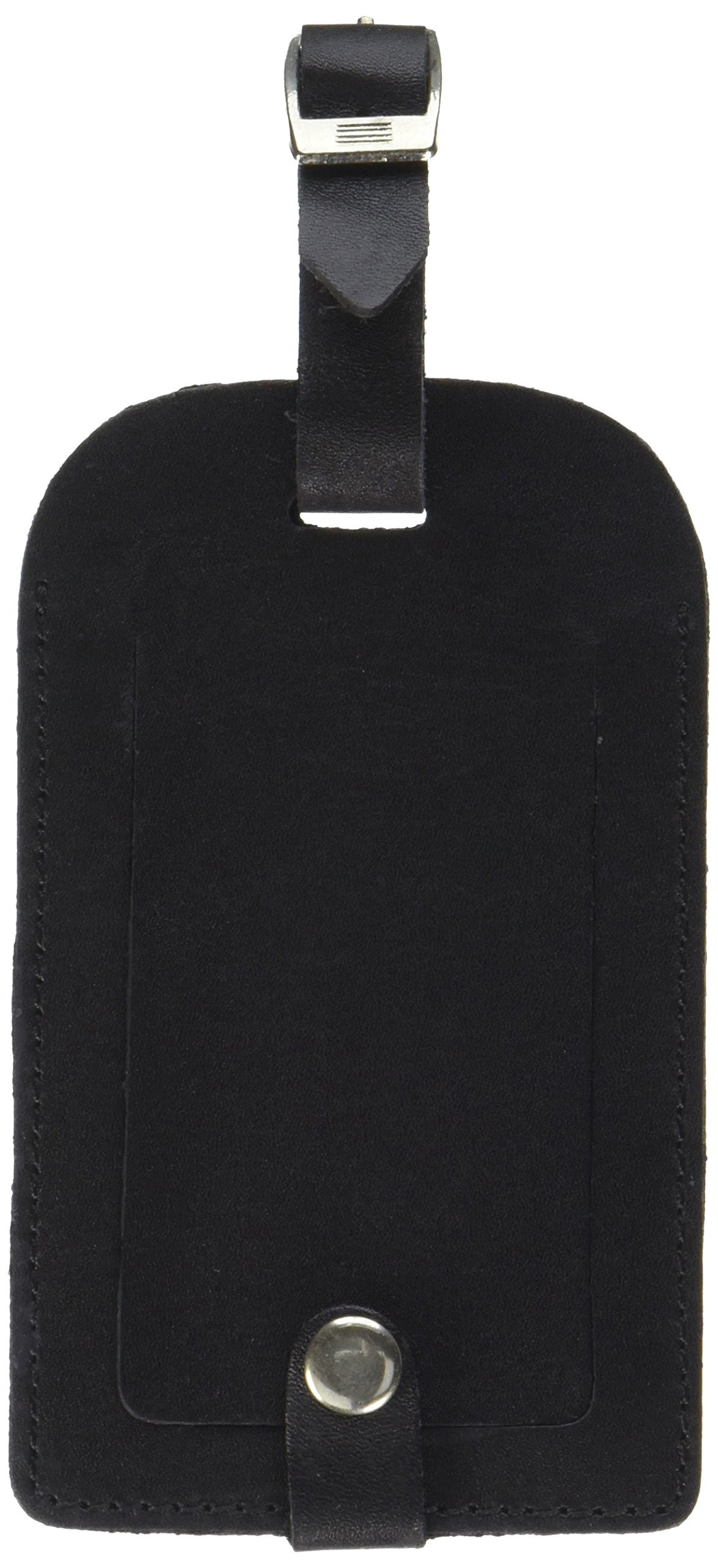 Dacasso Leather Luggage Tag, Classic Black (A1098)
