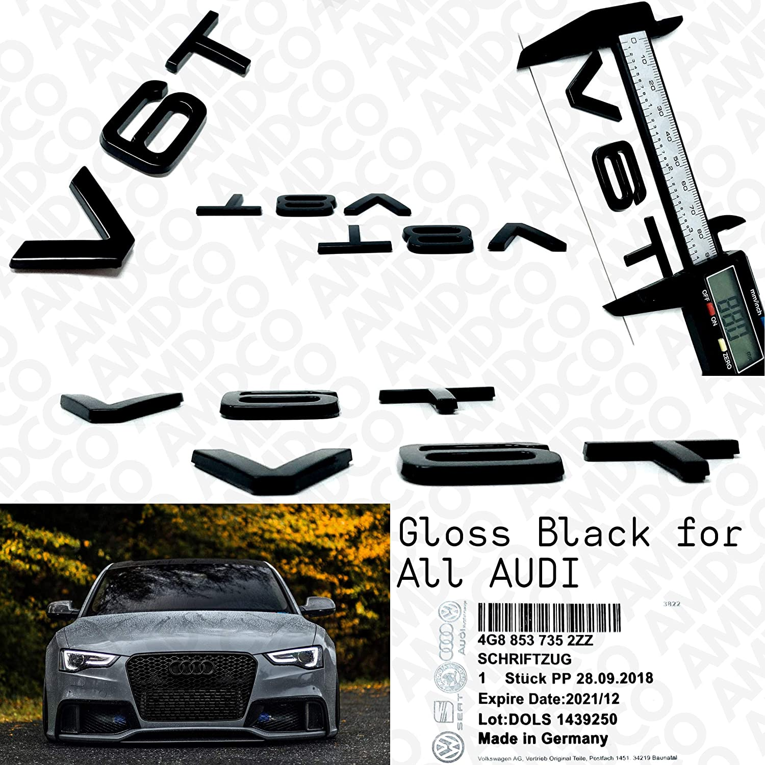 pack of 2 S LINE CHROME BLACK Emblem Badge Stickers Decals with Strong 3M Includes instructions MEASURE Before Purchase Fitment Top Quality fit For S RS LINE SIDE FENDER AMD BLACK CHROME