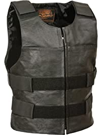 Milwaukee Leather Men's Zipper Front Replica Bullet Proof Style Leather Vest (Black, Size 58)