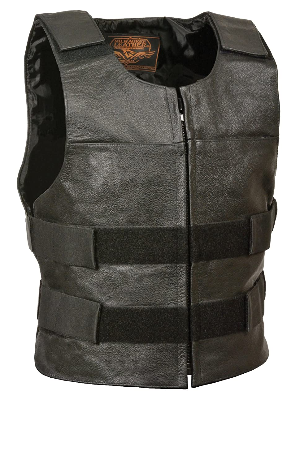Leather King Mens Zipper Front Replica Bullet Proof Style Leather Vest Black, Size 60