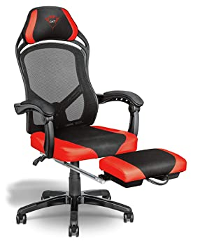 Trust Gaming 22980 Chaise Bureau Gamer Avec Repose Pieds Noir Rouge