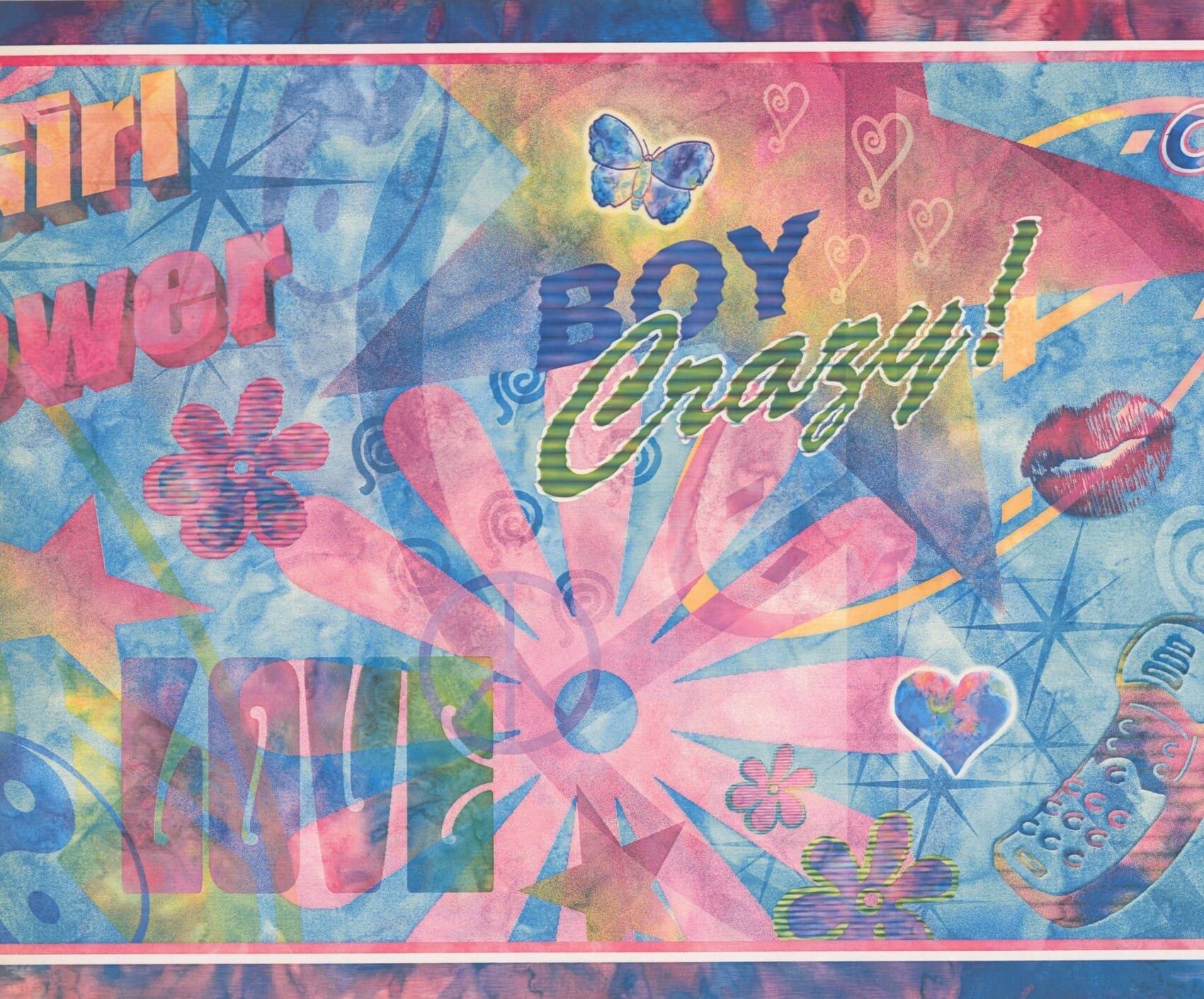 Abstract Kids Boy Crazy Girl Power Love Cool Smiley Face Wide Blue Wallpaper Border Retro Design, Roll 15' x 12''
