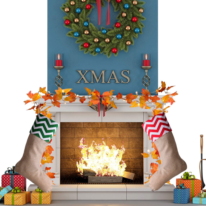 Sumind 4 Pieces Christmas Burlap Stockings Xmas Fireplace Hanging Stockings for Christmas Decoration DIY Color Set 1