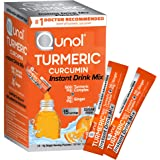 Qunol Turmeric Curcumin Instant Drink Mix, On-The-Go Packets, Orange Flavor, Ultra High Absorption, 500mg Turmeric…