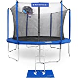 SONGMICS Outdoor Trampoline for Kids with Basketball Hoop and Backboard Enclosure Net Jumping Mat and Safety Spring Cover Padding TÜV Rheinland Certificated According to ASTM and GS Standard Blue