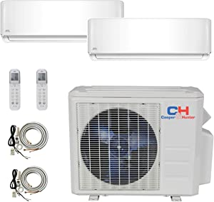Cooper and Hunter 2 Zone Mini Split - 9000 + 9000 Ductless Air Conditioner - Pre-Charged Dual Zone Mini Split