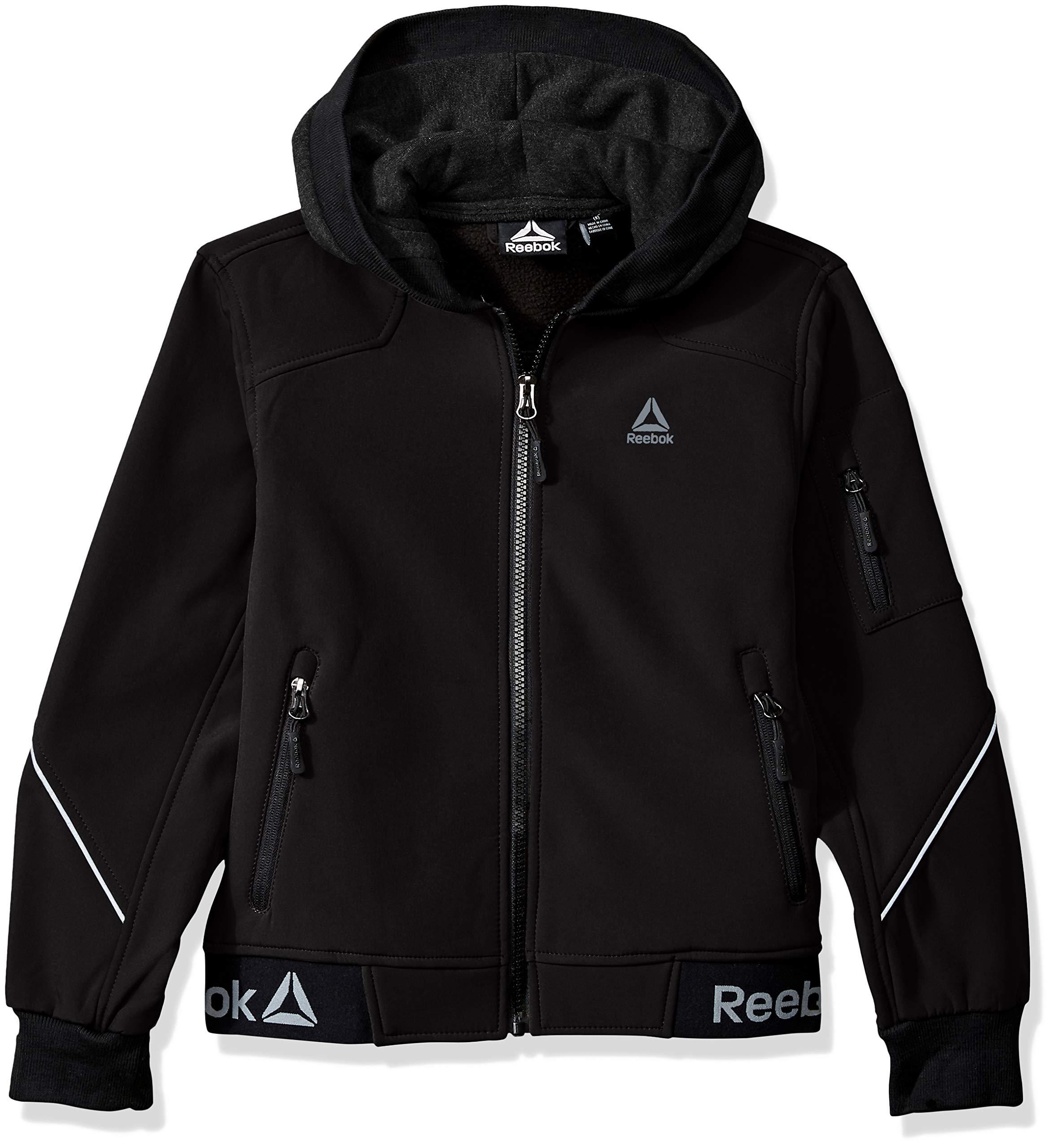 Reebok Boys' Big Active Logo Hem Jacket, Black 14/16