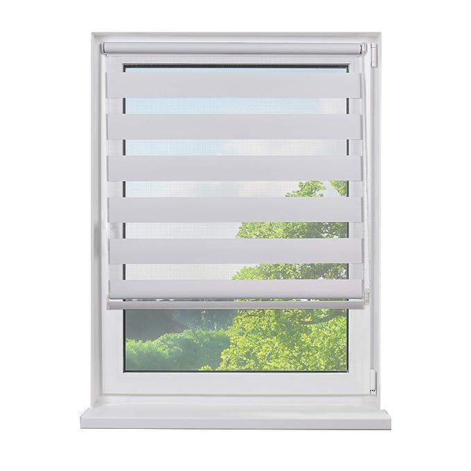 Mini Doppelrollo, zum Klemmen, Doppelrollos, Rollos für Fenster, Seitenzugrollo, Farbe weiß, lichtdurchlässig und verdunkelnd