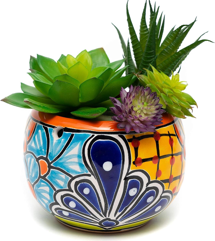 ENCHANTED TALAVERA Ceramic Succulent Pot Small Flower Planter Cactus Bonsai Pot W/Drainage & Hanging Holes Home Garden Office Desk Décor Gift (Small 4.5