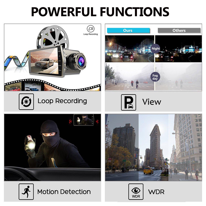 MYPIN Nuevo Tres disparos Dual Lens 4  HD 1080P Veh/ículo Veh/ículo Dash Cam C/ámara de Video Trasera DVR