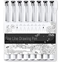Fineliner Drawing Pen, Ohuhu Set of 8 Pack Ultra Fine Line Drawing Markers, 8 Assorted Tip Sizes, 7 Fine Tip Markers…