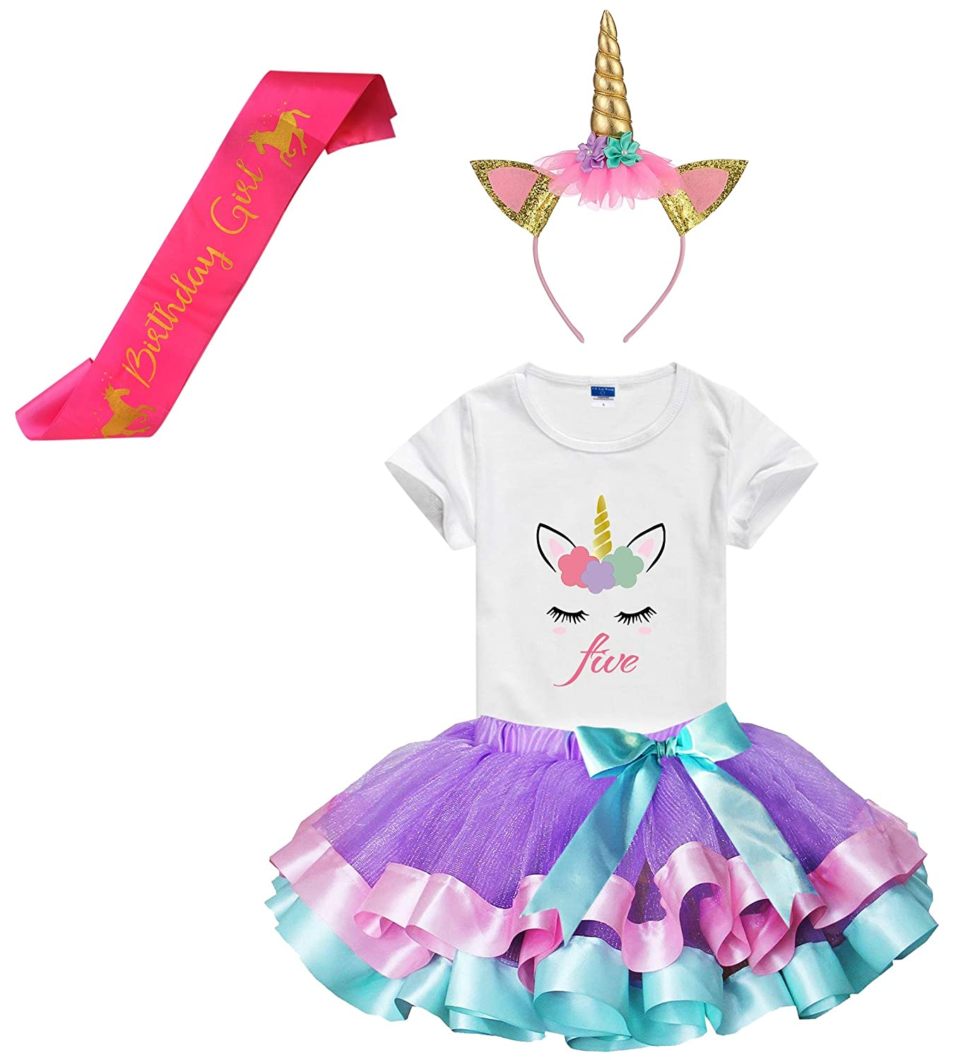 Girls Layered Tutu Skirts with Unicorn Horn Headband Unicorn Birthday Tshirt 3-9 Years