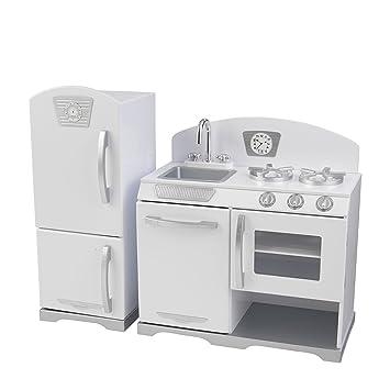 Kidkraft - 53307 Kinderküche und Kühlschrank Retro, weiss: Amazon ... | {Kühlschrank retro weiß 36}