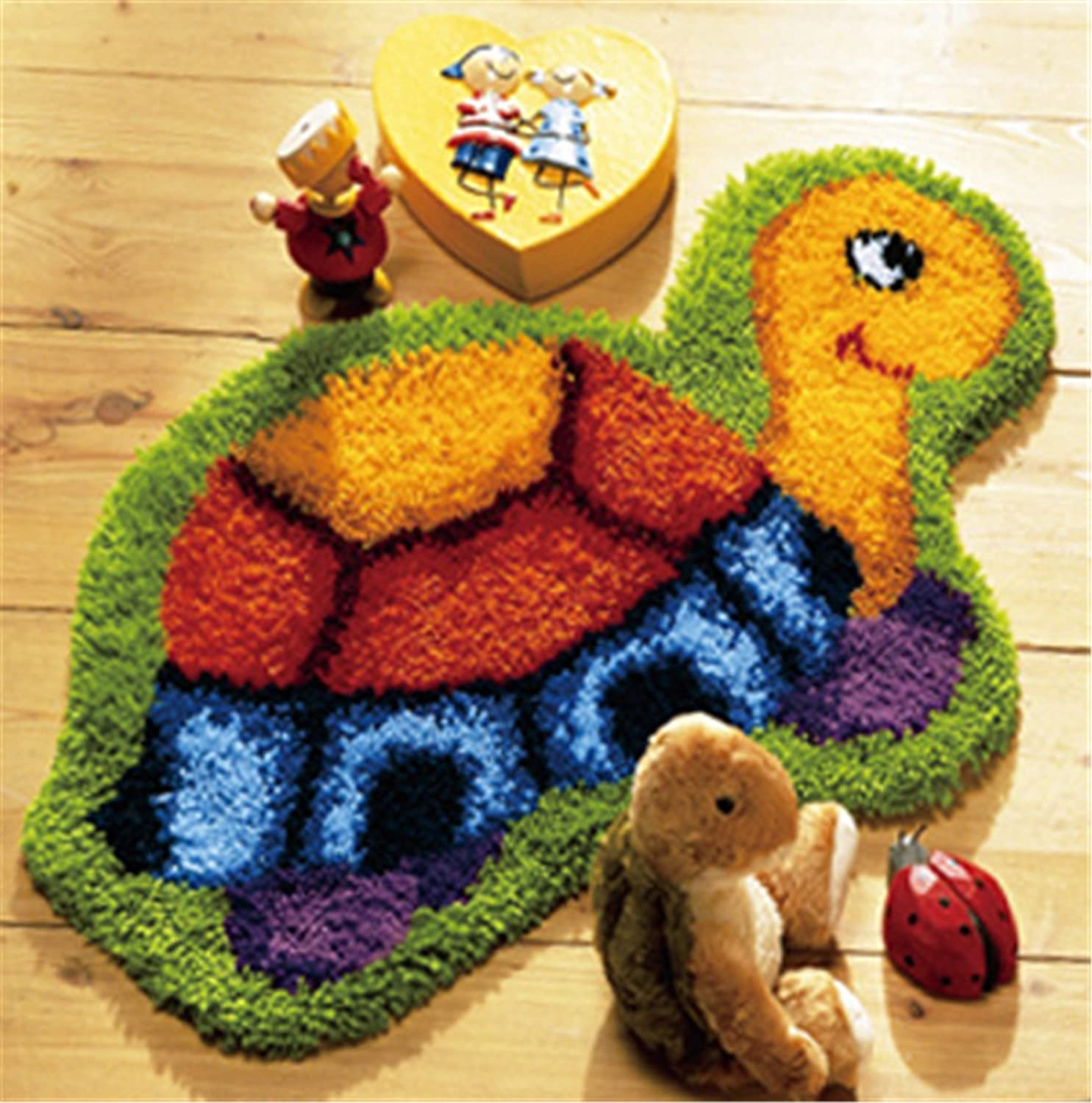 Beyond Your Thoughts DIY Latch Hook Kit Rug Making Crafts for Kids/Adults 20 inch X 16 inch Tortoise 007