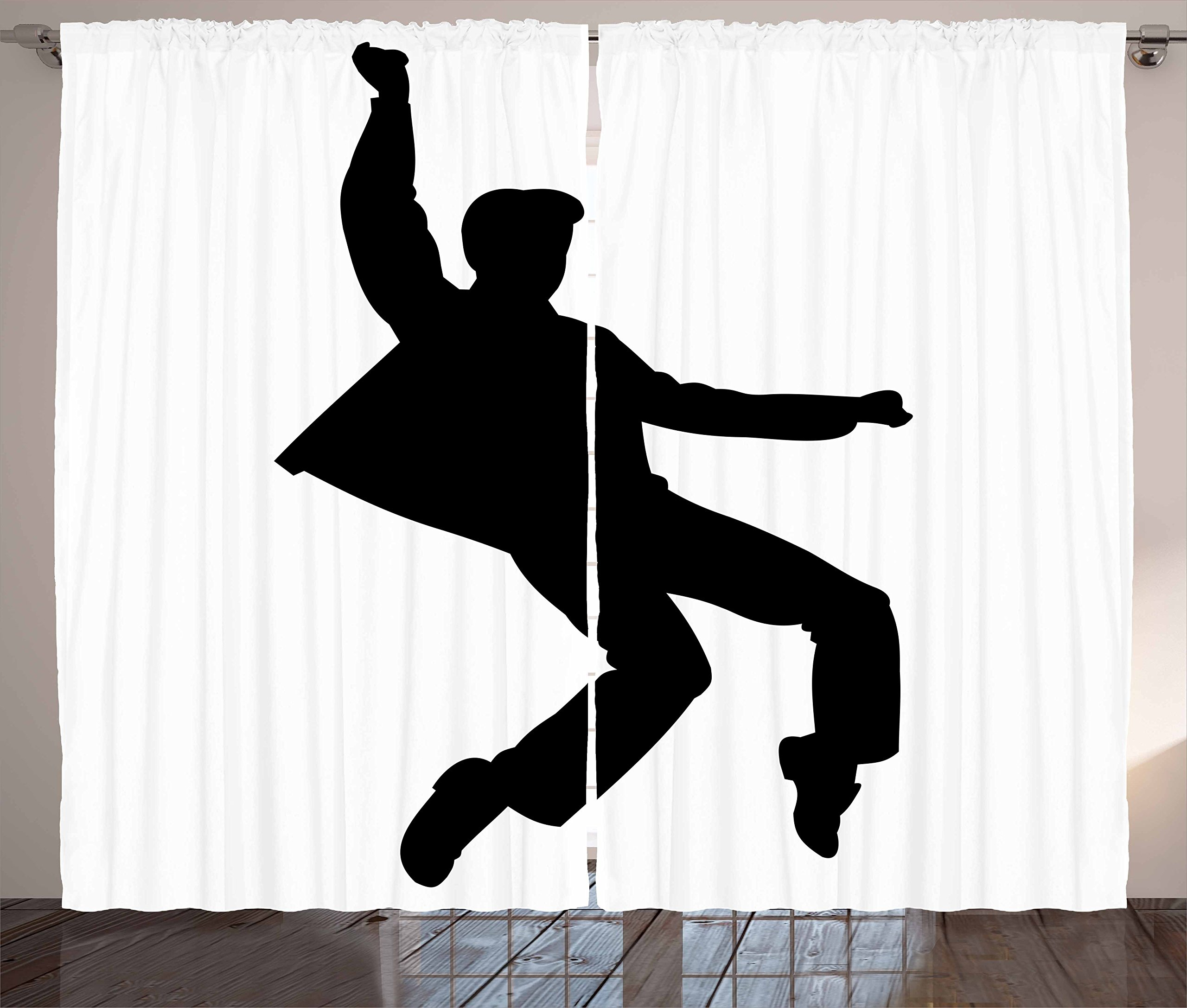 Elvis Presley Decor Curtains by Ambesonne, Popular Artist Doing Iconic Dance Moves Rock'n Roll Music Famous, Living Room Bedroom Window Drapes 2 Panel Set, 108 W X 63 L Inches, Black and White