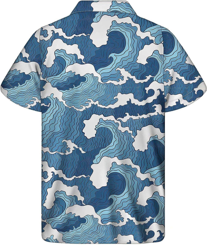 AFPANQZ Mens Short-Sleeve Hawaiian Shirts Holiday Aloha Tunic Summer Oversized