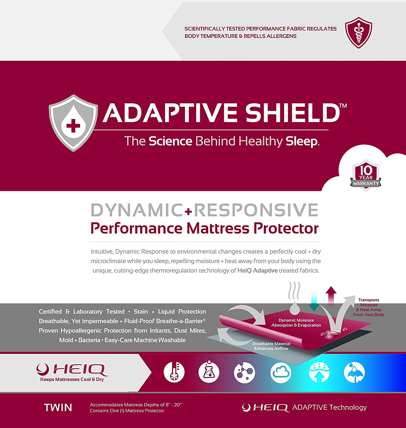 Adaptive Shield Premium Performance Mattress Protector - Lab Tested Allergy Free and Waterproof, Vinyl Free Noiseless Sleep, Crinkle Free, Machine Washable, and Compatible with All Mattresses (Twin)