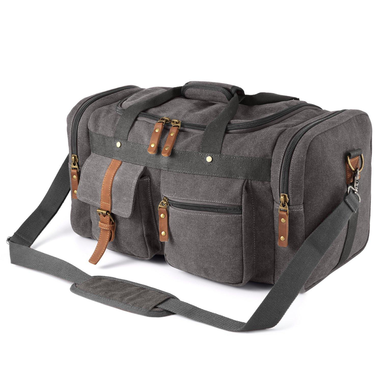 Plambag Oversized Canvas Duffel Bag Overnight Travel Tote Weekend Bag(Dark Gray) PB086DG