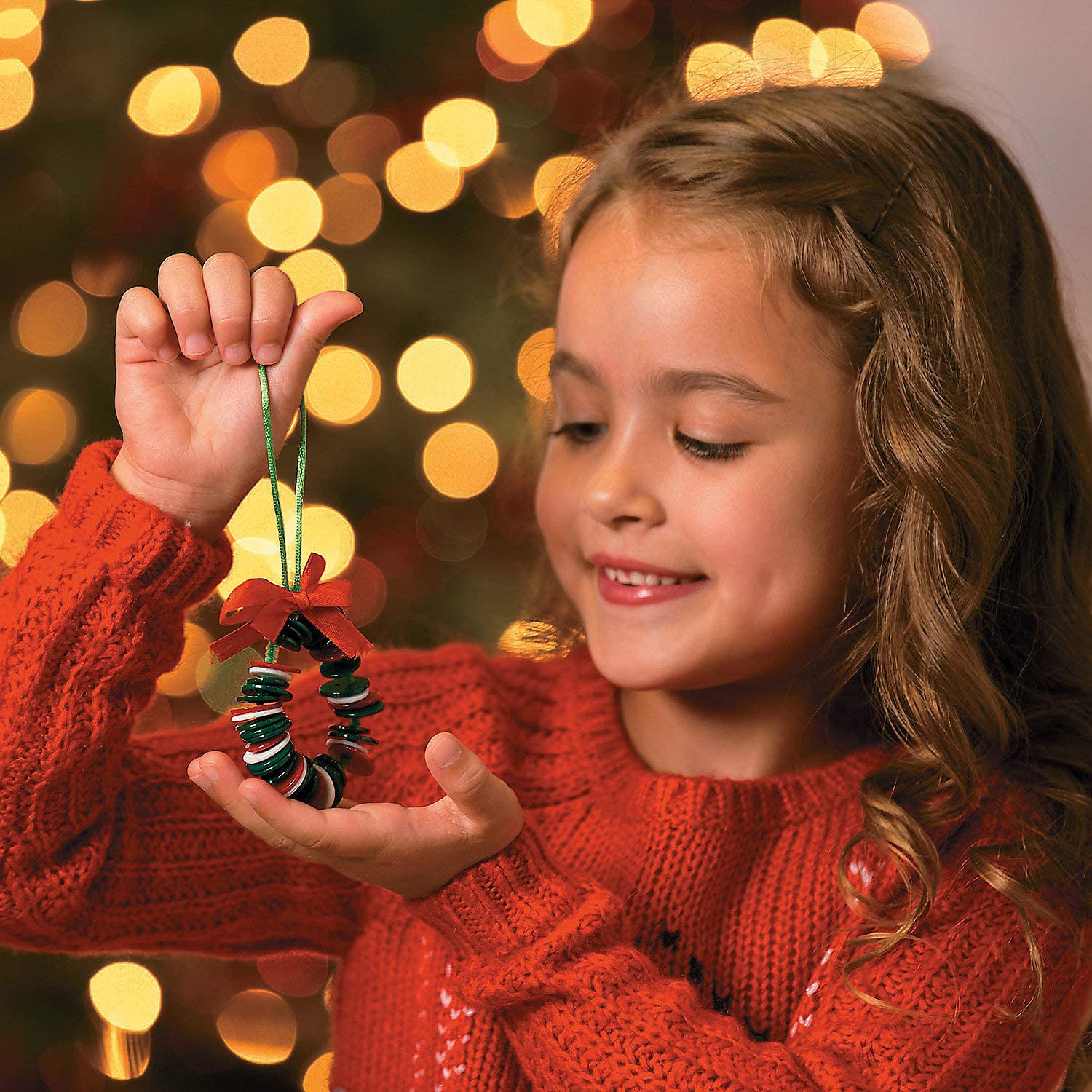 Button Wreath Ornament Craft Kit - Crafts for Kids and Fun Home Activities
