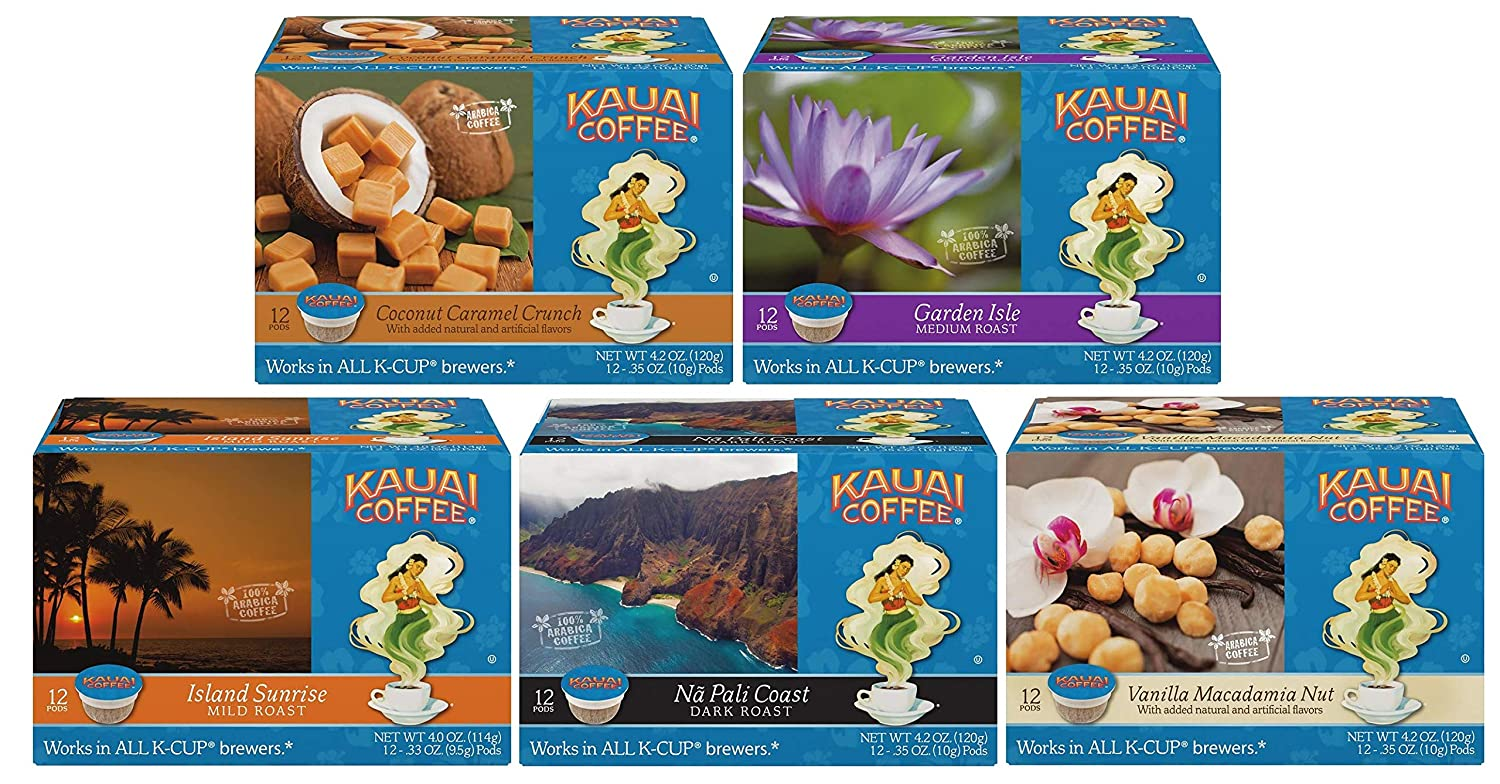 Kauai Coffee Variety Pack 60 K-cups 5 Boxes of 12 Single Serve Cups 4.2 Oz (5 Pack) Coconut Caramel - Vanilla Macadamia - Garden Isle - Island Sunrise - Napali Coast