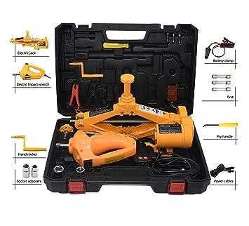 Gato eléctrico con forma de tijera y llave de impacto de 12 V, para vehículos (120 - 420 mm) (para 2,5 toneladas): Amazon.es: Coche y moto