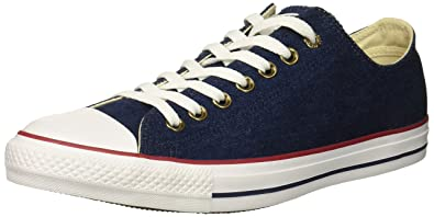 Converse Chuck Taylor All Star Denim Low TOP Sneaker Dark Blue Natural  Ivory White 668f79d6a