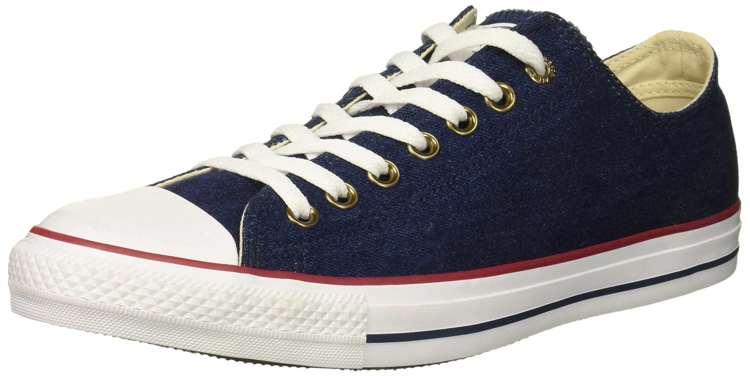Converse Chuck Taylor All Star Denim Low Top Sneaker, Dark Blue/Natural Ivory/White, 9 M US
