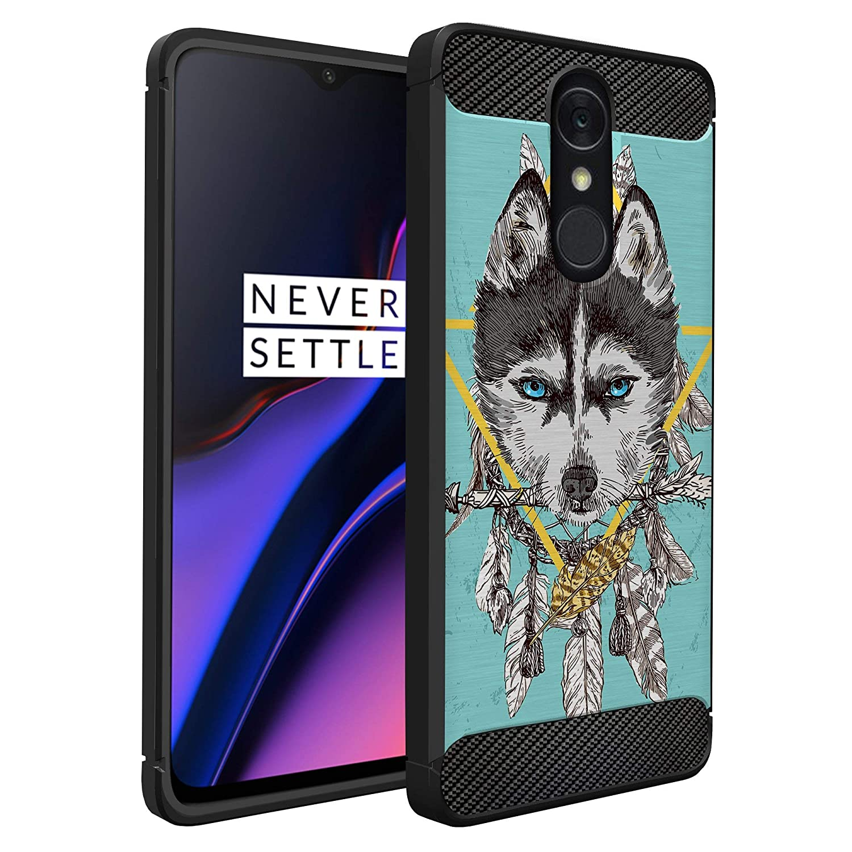 CasesOnDeck Case Compatible with [LG Q7 / LG Q7 Plus/LG Q7+] Tribal Floral Matte TPU Flexible Carbon Fiber Textured (Teal Wolf)