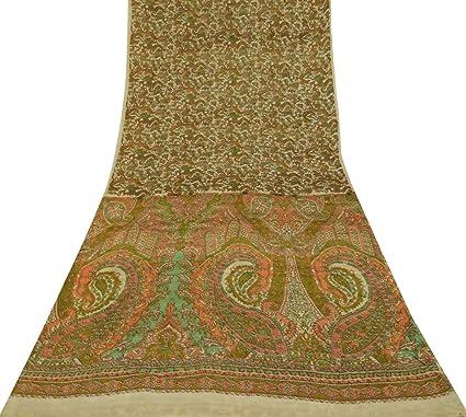 Vintage Sari palido de seda beige estampado vestido haciendo artesania de tela Sari