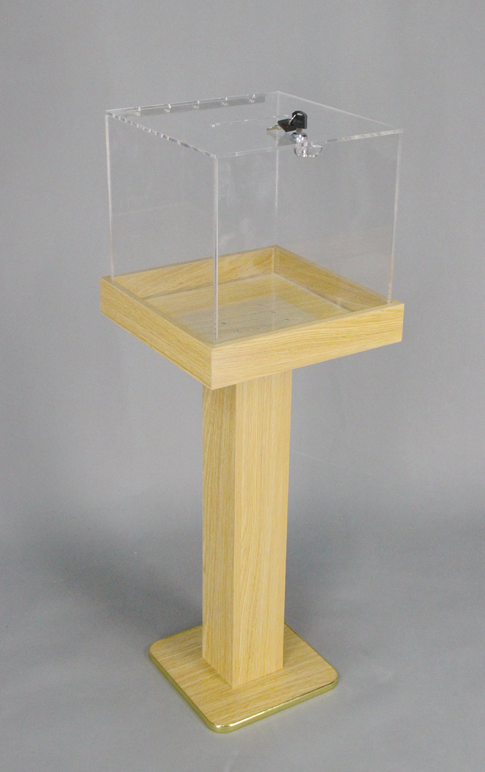 FixtureDisplays Wood Acrylic Large Floor Standing Tithing Box Offering Box Ballot Box Church Donation Box 14300-RED-NPF