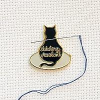 Black Stitching Assistant Black Cat on Embroidery Hoop Enamel Needle Minder