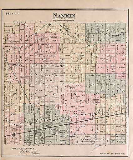 Detailed Michigan Map.Amazon Com Historic 1893 Map Detailed Official Atlas Of Wayne