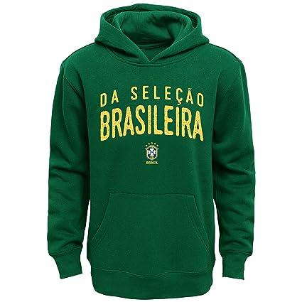 Brasil fútbol juventud verde nombre y logo manga larga sudadera con capucha - 8SCAKY BR,