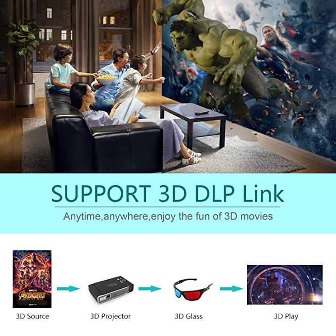 Tenswall 4K Proyector, 3800 Lumens Pico Videoproyector 1280x800 Spoyo 1080P, 4K, DLP Link 3D Mini Proyectores, 12000:1, Max300 Android OS HDMI AirPlay ...
