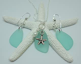 """product image for Beautiful SEA GLASS Set- Charm Necklace with Matching Earrings - Set of Sea Glass Earrings and Necklace- Sterling Silver 18"""" chain - With Pearl and Starfish Charms -Nautical Jewelry - Beach Glass"""