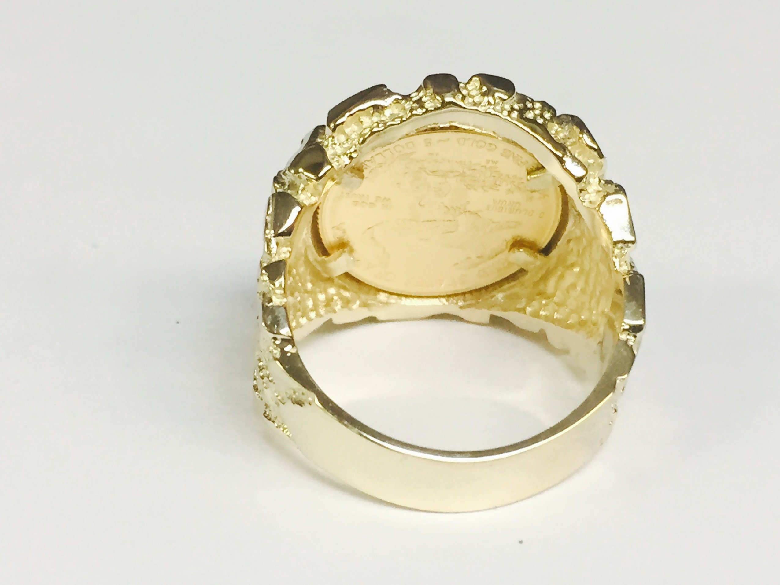 14K Gold Men'S 21 Mm Nugget Coin Ring With A 22 K 1/10 Oz American Eagle Coin - Random Year Coin by TEX (Image #5)