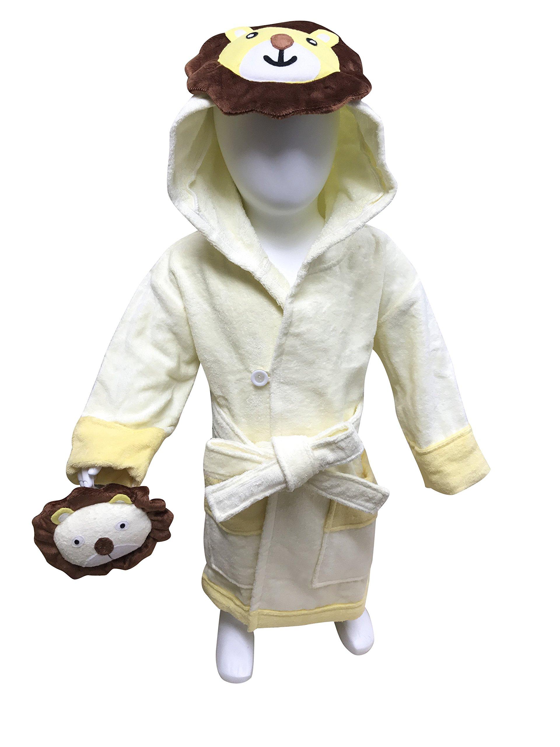 MINERVA Baby&Kids Lion Bathrobe & Plush Toy Gift Set For 2 ~ 8 Years Old 100% Virgin Cotton (M)