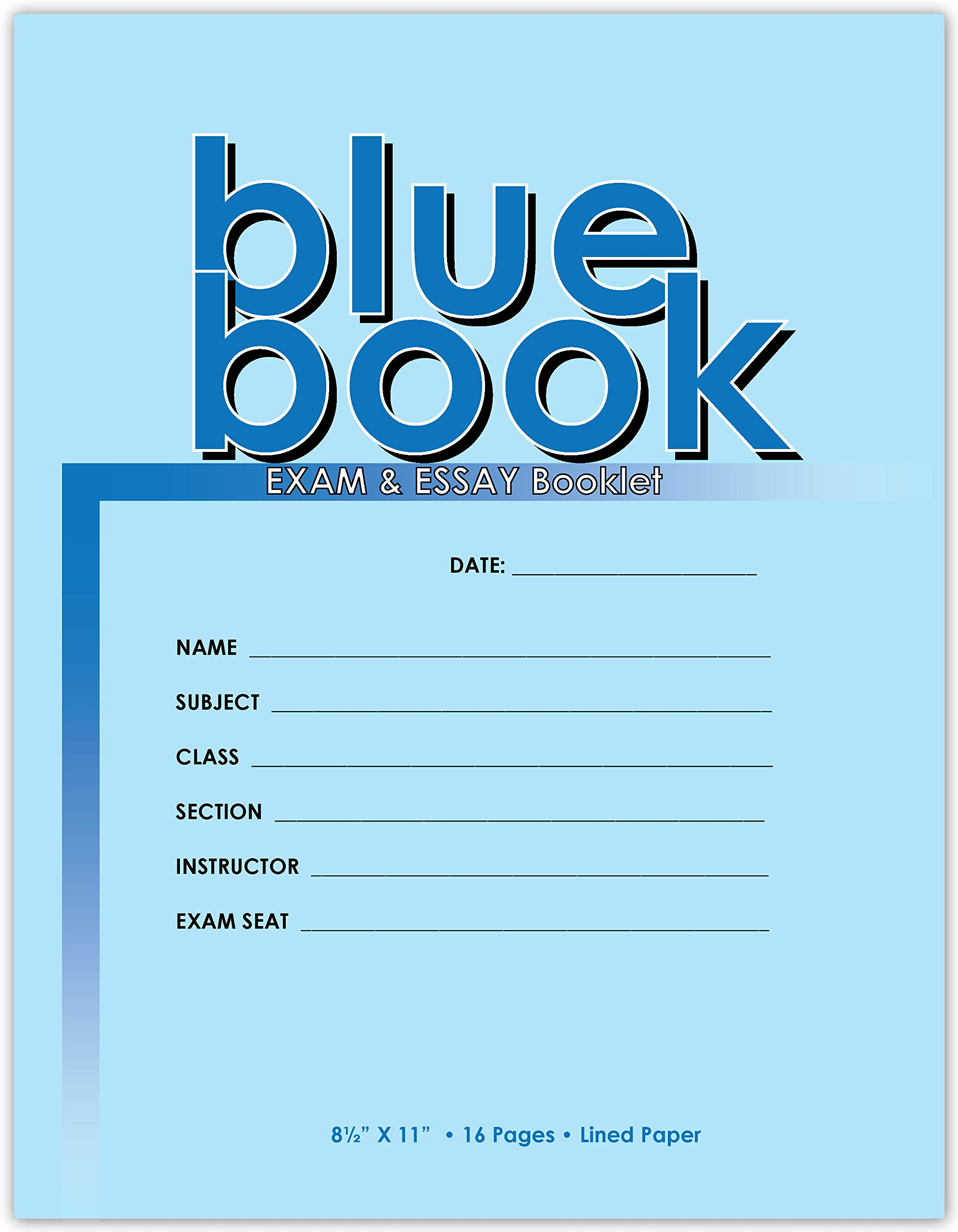 Exam Blue Book/Blue Exam Book/Blue Test Book (Ruled Format - 8.5'' x 11'' - 16) Saddle Stitched (Exam Book) 50 Booklets by Buybazinga