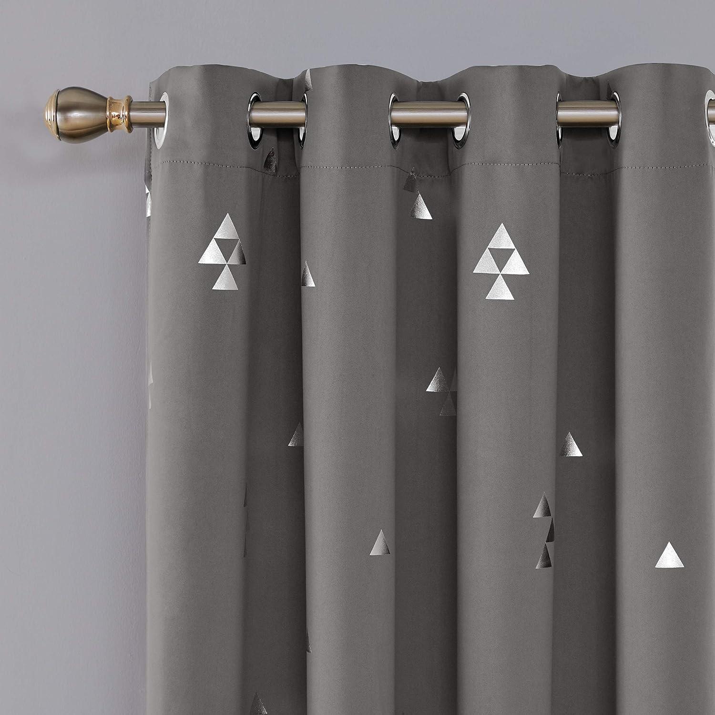 Deconovo Cortinas para Ventana de Sal/ón Dormitorio y Cocina Dise/ño de Tri/ángulo con Ojales 2 Piezas 117 x 138 cm Negro