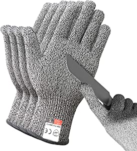 DEYAN Cut Resistant Gloves - 2 Pairs Food Grade Safety Cutting Gloves, Level 5 Protection, Used for Meat Cutting, Oyster Shucking, Wood Carving, Gardening (Small)