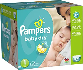 Pampers Baby Dry 252 Count Newborn Diapers Size 1