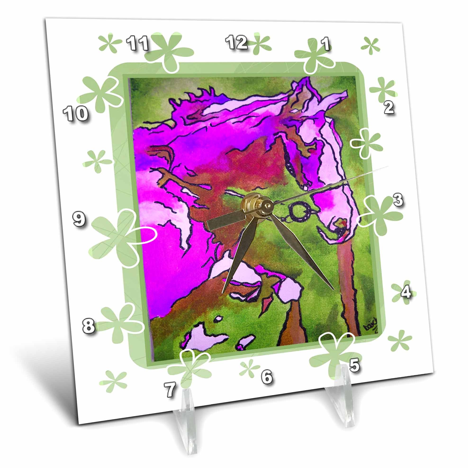 3dRose dc_24941_1 Animal Horse Pink-Desk Clock, 6 by 6-Inch by 3dRose