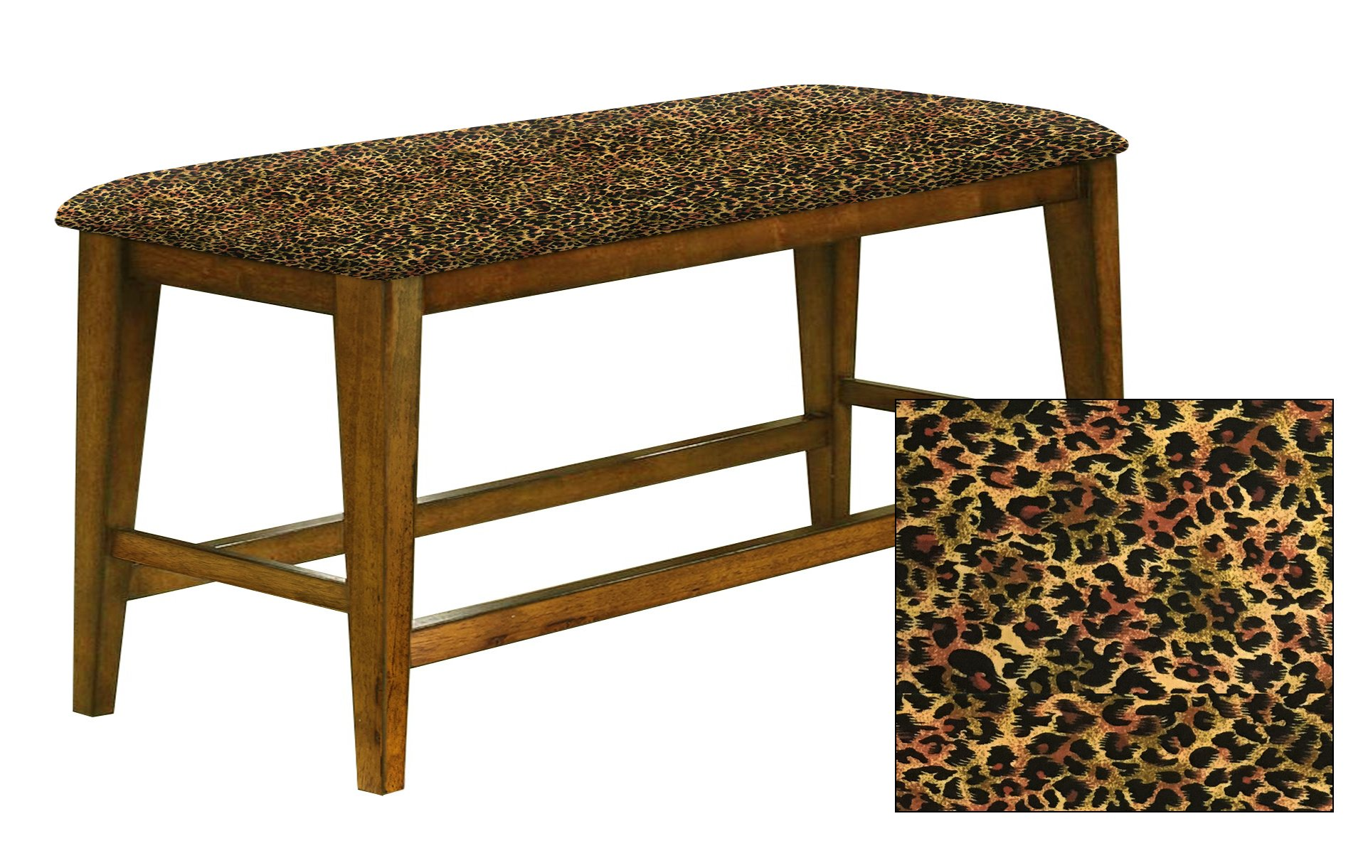 """Counter Height 25"""" Tall Universal Bench in an Oak Finish Featuring a Padded Seat Cushion With Your Choice of an Animal Print Fabric Covered Seat Cushion (Cheetah Small Cotton)"""