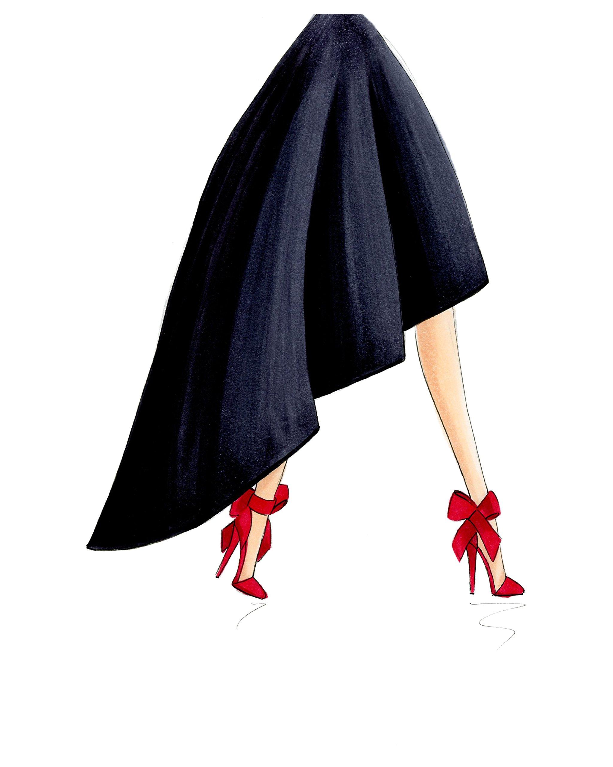 Red Bow Stilettos Fashion Illustration Art Print by De Almeida Illustrations