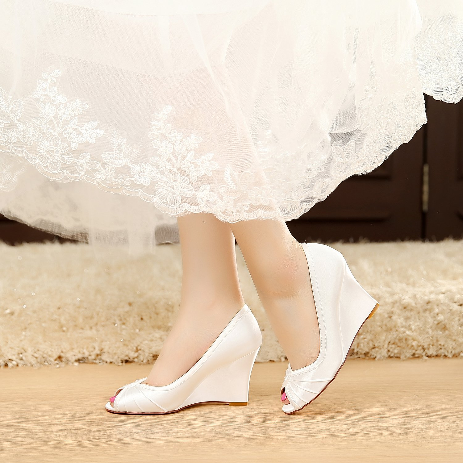 Amazon.com | LUXVEER Satin Wedding Shoes Bridal Shoes Women Shoes ...