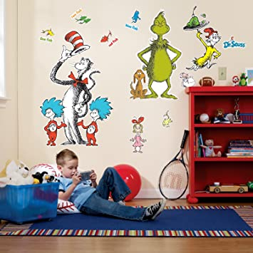 Amazoncom Dr Seuss Room Decor Giant Wall Decals Toys  Games - Dr seuss nursery wall decals