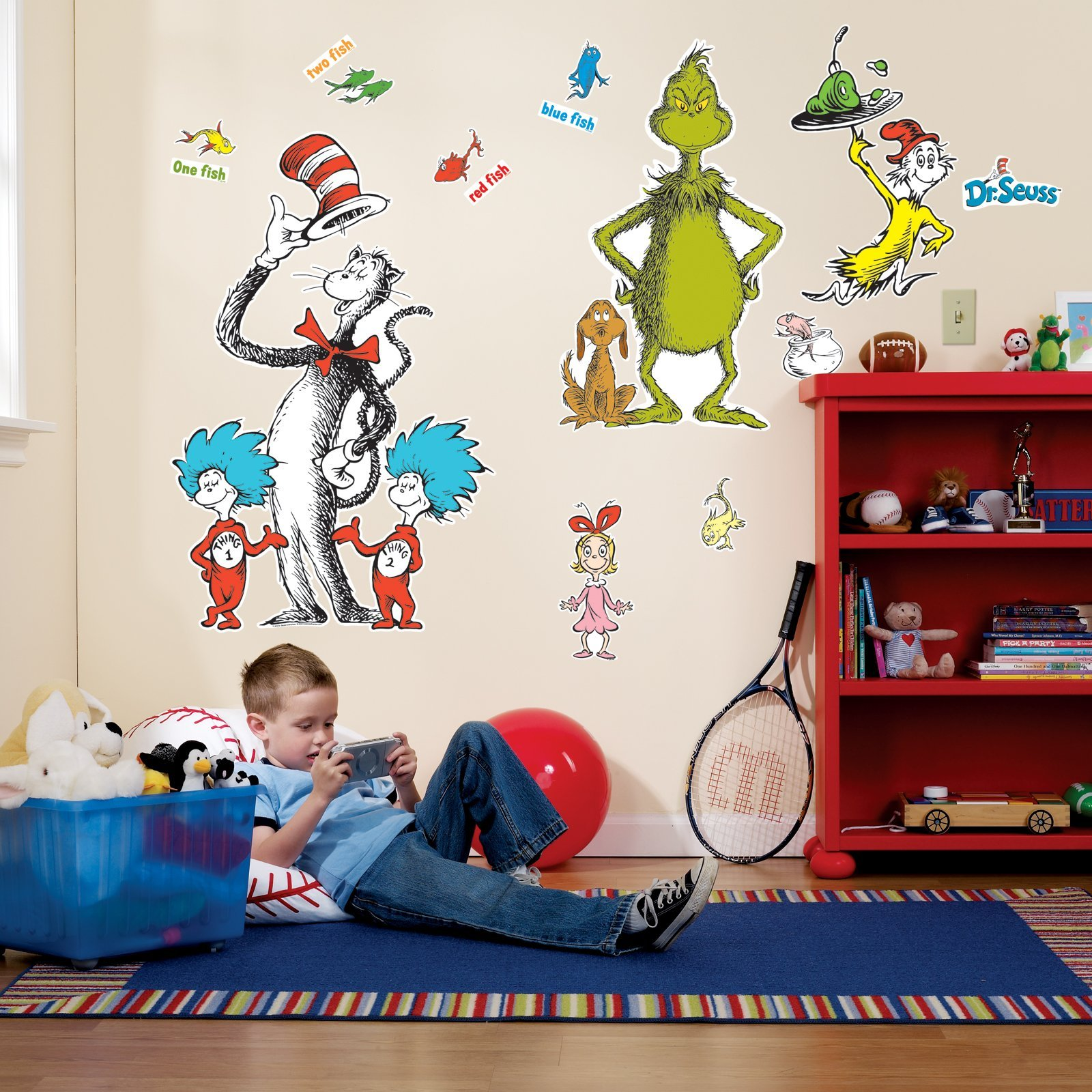 Amazon trend lab dr seuss wall clock abc baby dr seuss room decor giant wall decals amipublicfo Image collections