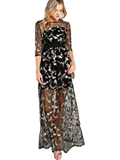ccf6bdac DIDK Women's A Line Floral Embroidery Mesh Sheer Evening Cocktail Dress